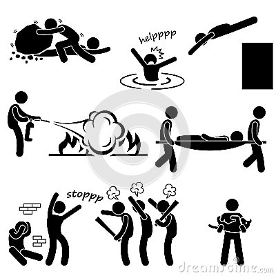 Man Helping Saving Life Rescue Savior Pictogram