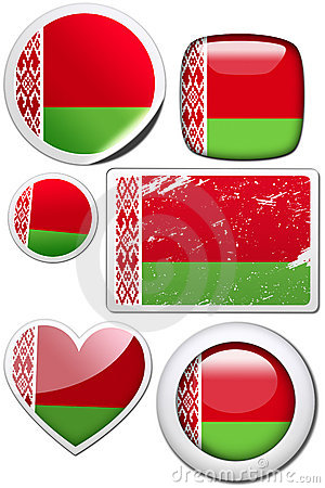 Set of stickers and buttons - Belarus