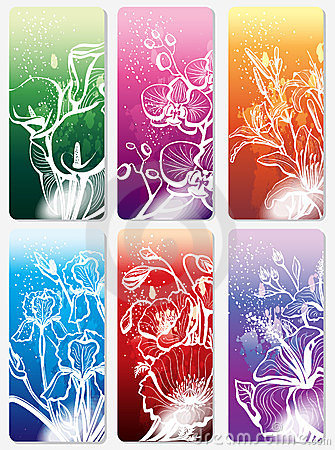 Set of stickers with flower