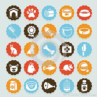 Set of  stickers with pet icons
