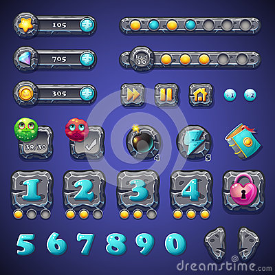 Free Set Stone Buttons, Progress Bars, Bars Objects, Coins, Crystals, Icons, Boosters And Other Ellementov For Web Design And User Royalty Free Stock Photo - 47610905
