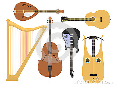 Set of stringed musical instruments classical orchestra art sound tool and acoustic symphony stringed fiddle wooden Vector Illustration