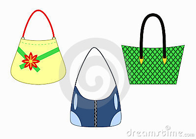 Set of stylish female handbags