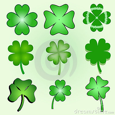 Set of stylized  clover leaves