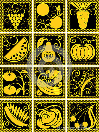 Set of stylized fruit and vegetables
