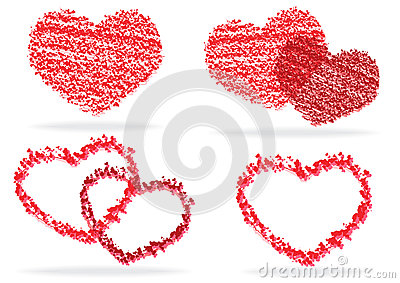 Set of stylized hearts