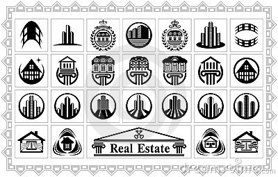 Set Of Stylized Images Of Houses And Buildings Royalty Free Stock Image - Image: 21839286