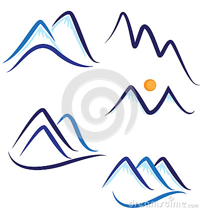 Set of stylized mountains logos