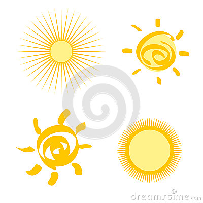 Set of stylized sun