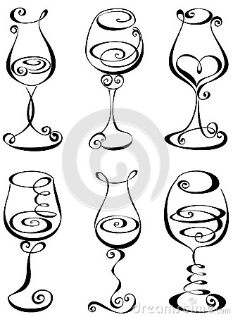 Free Set Stylized Wine Glass Stock Images - 28821574