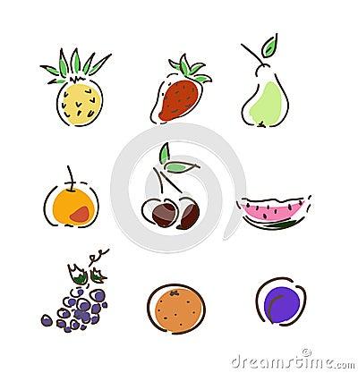 Set of summer fruits