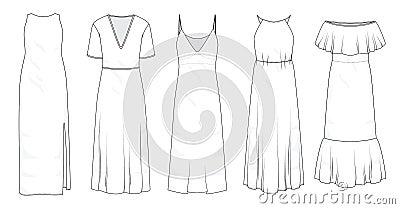Set of summer long maxi dresses Vector Illustration