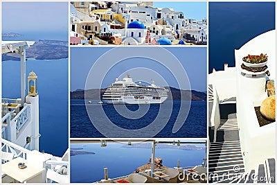 Set of summer photos in Santorini island