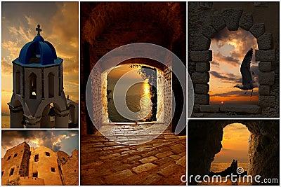 Set of summer photos at sunset  in Santorini islan