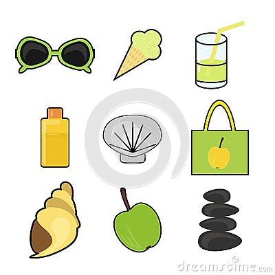 Set with summer vacation objects