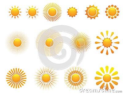 Set of sun. Vector.