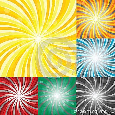 Set of sunbursts