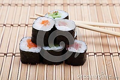 Set sushi on bamboo mat