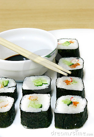 Set of sushi and chopsticks