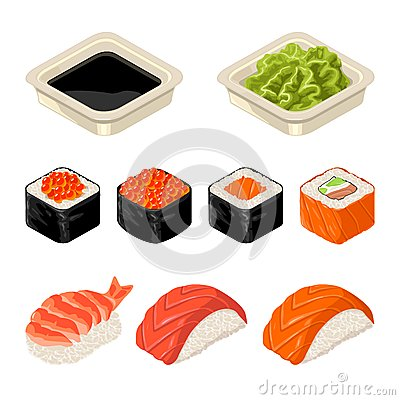 Free Set Sushi Roll. Isolated On Dark Background. Vector Flat Color Illustration Stock Photography - 89519362