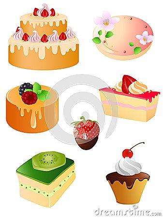 Set of sweet dessert  icons