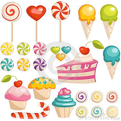 Set of sweets icons Vector Illustration