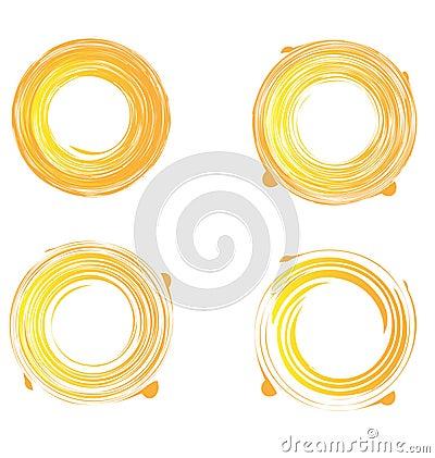 Set of swirly grunge sunburst