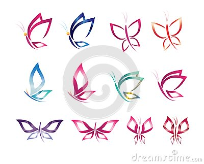 Set symbol icon design vector butterfly, logo, beauty, spa, lifestyle, care, relax, abstract, wings Vector Illustration