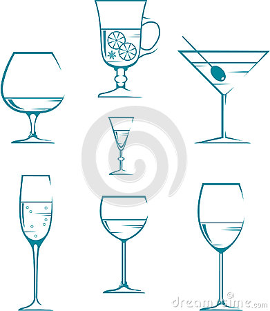 Set of symbols and icons glasses