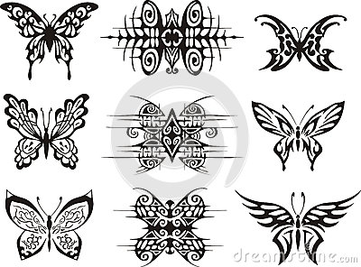 Set of symmetric butterfly tattoos