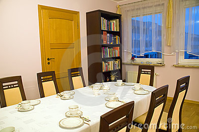 Set table in dinning room