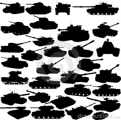 Set of tanks silhouettes