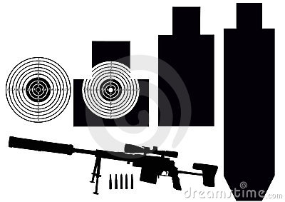 Set of targets and rifle
