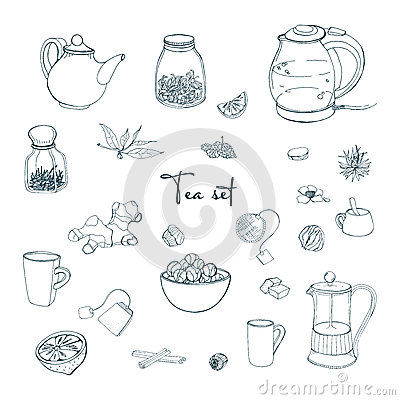Set tea party objects. Collection with hand drawn kettle,jar,lemon,leaf,cup,ginger,cinnamon. vector illustration. Vector Illustration
