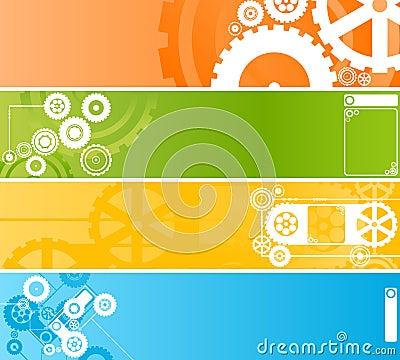 Set of technological clockwork banners