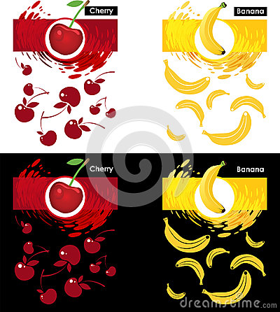 Set template of cherry and banana fruit Vector Illustration
