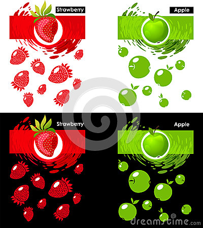Set template icon of fruit, strawberry and apple Vector Illustration