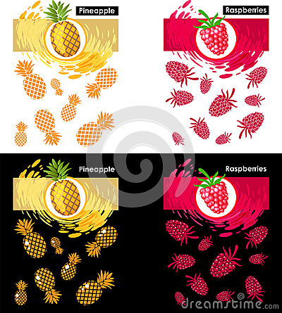 Set template icon of fruits, raspberry and pineapple Vector Illustration