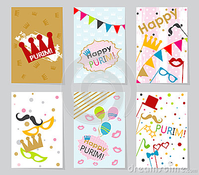 template jewish holiday purim greeting card, vector stock vector, Greeting card