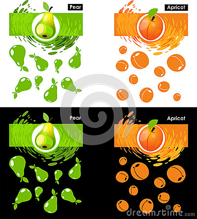 Set template of pear and apricot fruit Vector Illustration