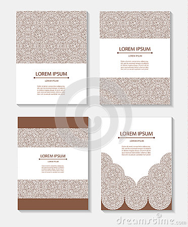 Set templates business cards and invitations with circular patterns Vector Illustration