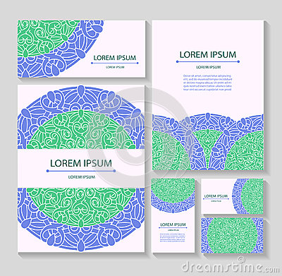Set templates business cards and invitations with circular patterns of mandalas Vector Illustration