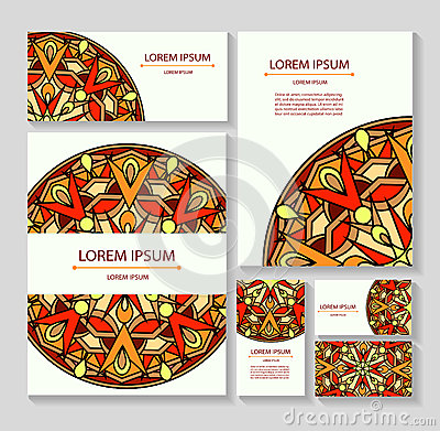 Set templates business cards and invitations with circular patterns of mandalas Cartoon Illustration
