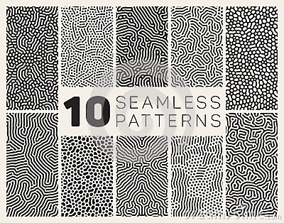 Set of Ten Vector Seamless Black and White Organic Rounded Jumble Maze Lines Patterns Vector Illustration