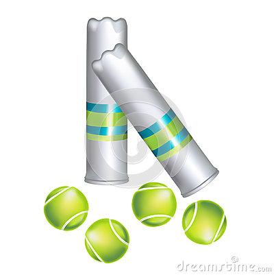Set of tennis balls and containers isolated