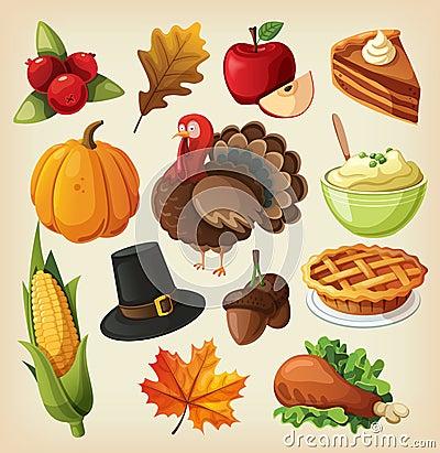 Set for thanksgiving day Vector Illustration