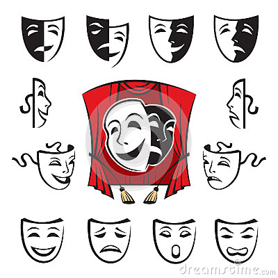 Set of theatrical masks