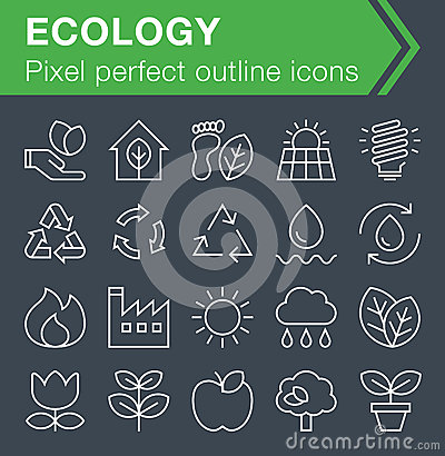 Set of thin line ecology icons. Vector Illustration