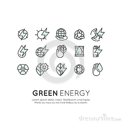 Set of thin line icons of environment, renewable energy, sustainable technology, recycling, ecology solutions Vector Illustration