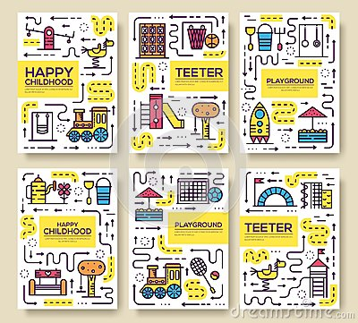 Set of thin line kids pattern concept. Art playground field, magazine, book, poster, abstract, banners, element. Vector Vector Illustration